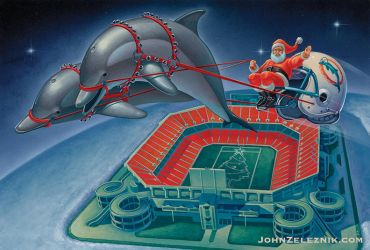 Miami Dolphins Christmas Card 1988 by Zeleznik