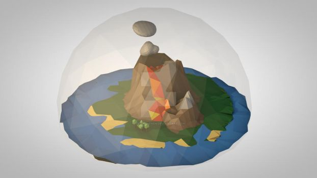 Low Poly Volcano by Benenenenen
