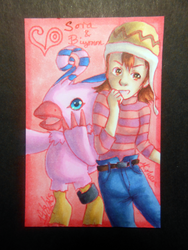 Sora and Biyomon ATC by Libra-the-Hedghog