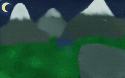 Mountains at night by DarkBachuru