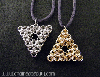 Chainmaille Hyrule and Lorule Triforces by ChainedBeauty