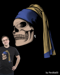 Skull with a Peal Earring by perdita00