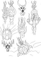 Alien Lifeform sketches. by Benjamin-the-Fox
