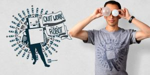 Quit Work, Be a Robot_Tee by TheRyanFord