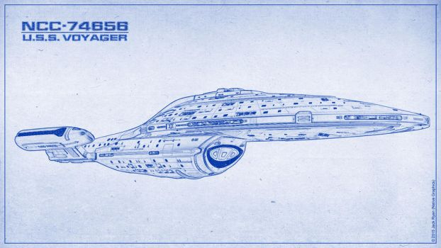 U.S.S. Voyager - Blueprint Style by PlaysWithWolves