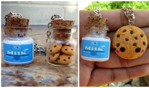 Cookies and milk bestfriends necklaces or keychain by Saloscraftshop