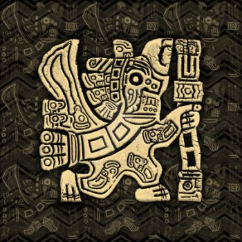 Aztec Eagle Warrior Grunge Bas-relief by Bluedarkat