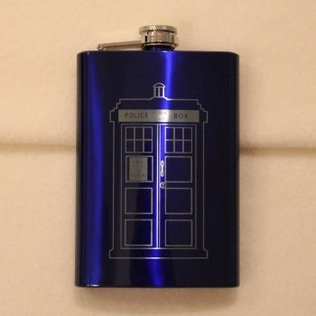 Dr. Who Blue Tardis flask by Yukizeal