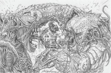 AvP: Double Kill Lineart by RaXt0r