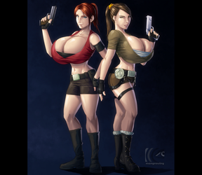 Claire Redfield and Lara Croft by mangrowing