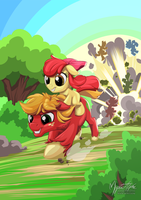 Big Mac and Apple Bloom's Race to Finish by mysticalpha