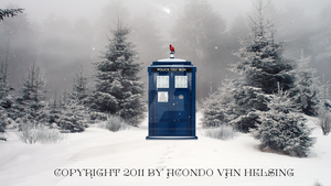 Doctor Who TARDIS Winter Wallpaper by MonochromeReflection