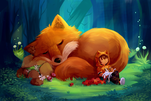 Sleeping With a Giant Fox by EcoScribbles