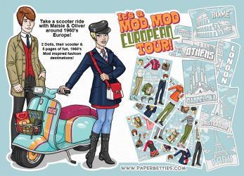 Paper Betties Promo - Mod Mod Scooter Paper Dolls by Shannanigan