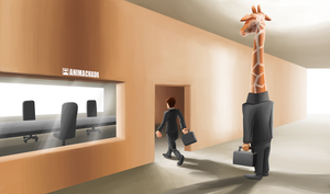 A giraffe that cannot enter in the room by Animachado