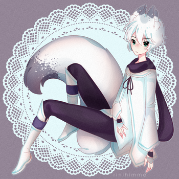 [g] snow hydrangea fox by rinihimme
