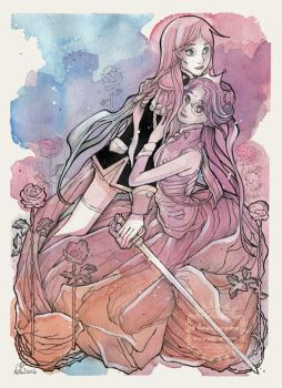 Two Roses - Utena and Anthy Fanart by nati