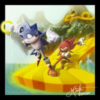 Sonic vs Knuckles by NISSAN-J