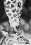 Girafe mom and her baby by Mercantille