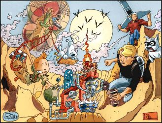 Tintin vs Jonny Quest by JayFosgitt