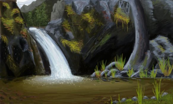 Pond with a waterfall by A-Teivos