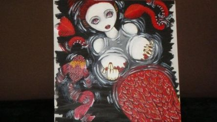 Red mermaid-painting trial by AstachouxNew