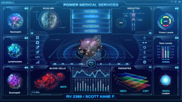 Hitech scifi medical user interface FOR SALE by Scott-Kane