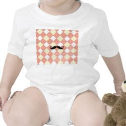 Mustache and Checkered Infant Creeper, White by PhotoshopGirl29