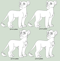 Adolescent Lion Line Art by Kainaa
