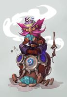 Playing Hearthstone by Catell-Ruz