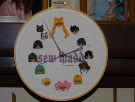 Sailor Moon sprite head clock-xstitch by Sew-Madd