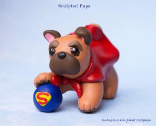 Super Pug sculpture by SculptedPups