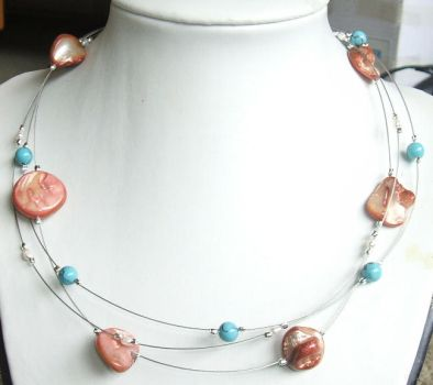 Pink shell turquoise necklace by inchworm