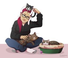 Comm.: Her cats by FreakyVicky