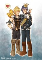 Royal Chocobros - Prompto and Noctis by Yamatoking