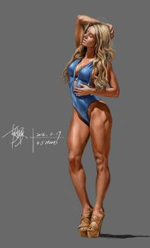 2016-2-19 4.5 hours exercise--bikini girl by yuilovepainting
