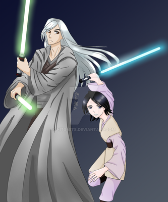 AT: Jedi Master and Padawan, Ukitake and Rukia by KitsMits