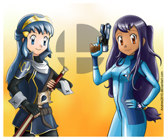LuciDawn and Zero Suit Iris (SSB4 cosplay) by Andres2610