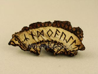 Magical Runes On Piece Of Wood by NinelivescatArt