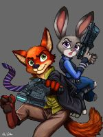 Nick and Judy - ZOOTOPIA/PSYCHOPASS Crossover by TheLivingShadow