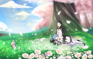 Commission | Subaru and Rem - Sakura tree by KheilaHirai
