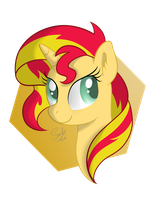 Sunset Shimmer headshot by SoulfulMirror