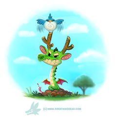 Daily Paint 1304. Early bird get's the Wyrm by Cryptid-Creations