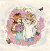 Cloud and Tifa - Flowers by Radiophonia