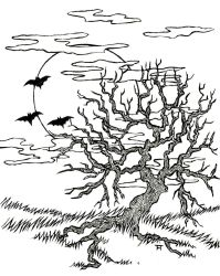 Crooked tree lineart by Myunfelia