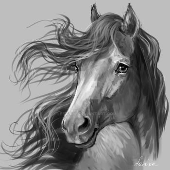 horse portrait 7 by Lenika86