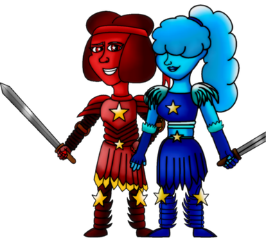 Ruby and Sapphire as Knights by Puccalover345