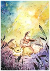 Flareon and Jolteon in the meadow by LizTheFox