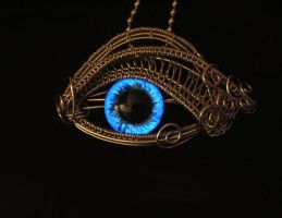 Glow Blue - Cerulean Silver Eye Pendant by LadyPirotessa