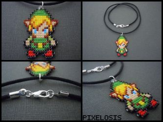 Handmade Seed Bead Minish Cap Link Necklace by Pixelosis